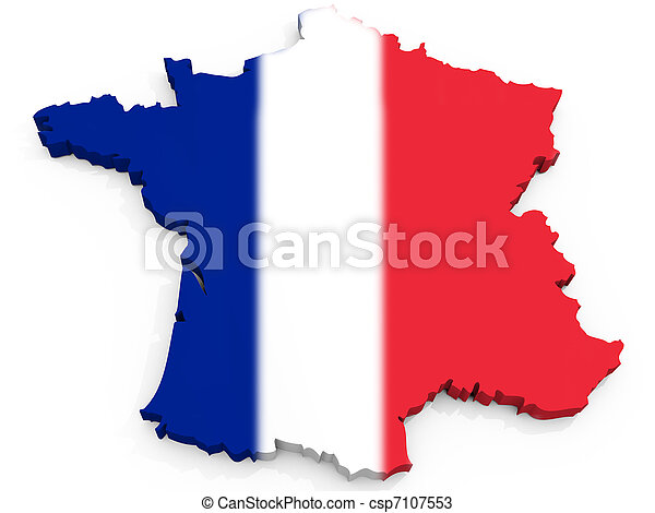 3D Map of France with flag, French Republic - csp7107553