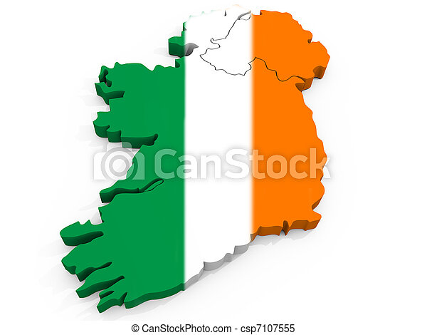 3D Map of Ireland with Flag, Republic of Ireland - csp7107555