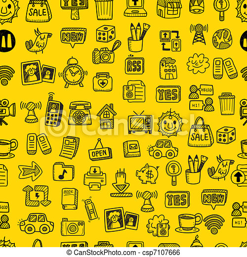 hand draw web icons seamless pattern - csp7107666