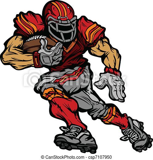 Football Player Runningback Cartoon - csp7107950
