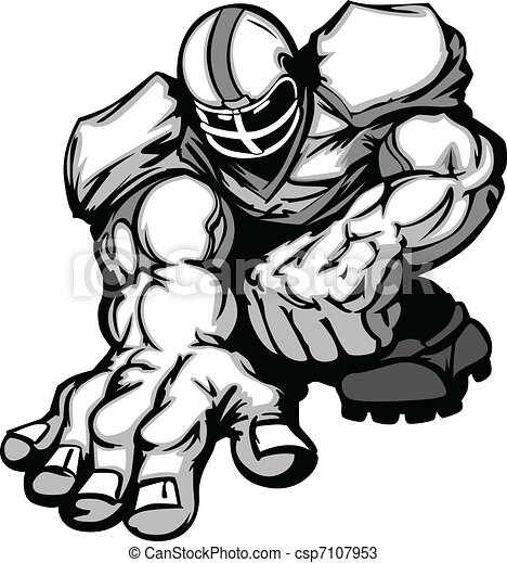 Football Player Lineman Cartoon - csp7107953
