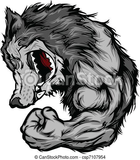 Wolf Mascot Flexing Arm Cartoon - csp7107954