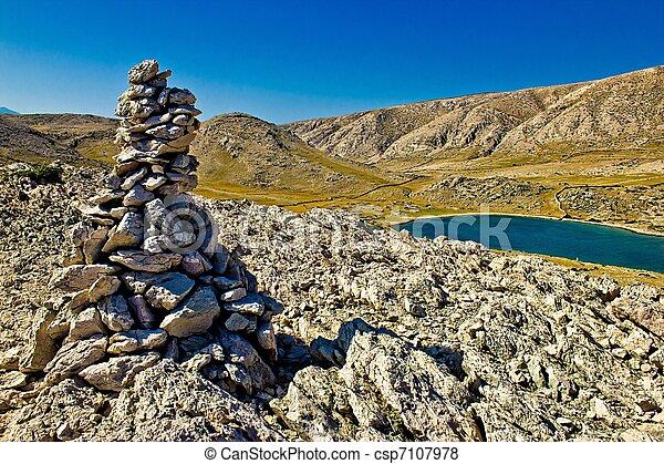 Mala Luka stone & Sea Desert, Krk, Croatia - csp7107978