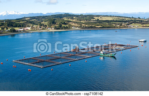 salmon cages on islands in southern Chile - csp7108142