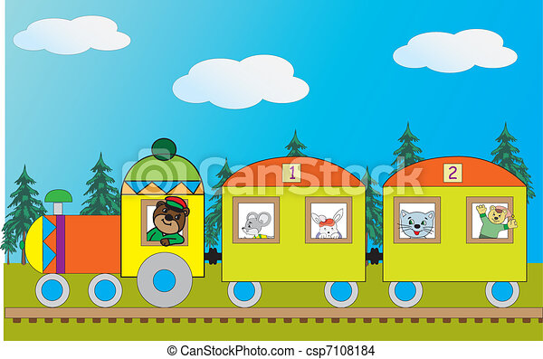 Image of the train with the beasts - csp7108184