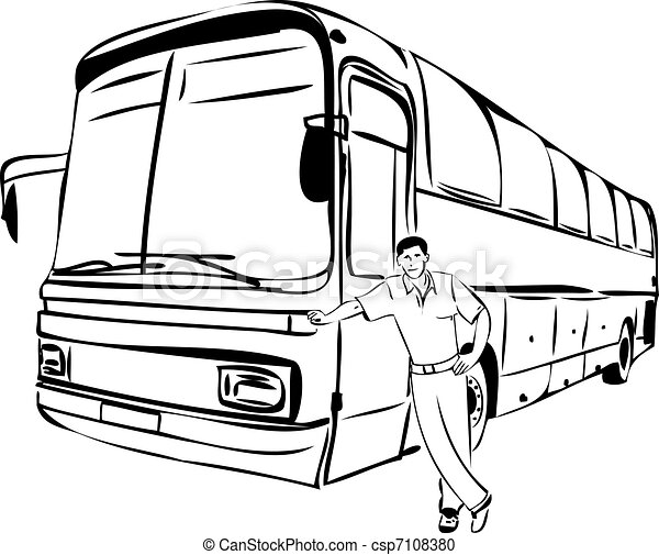 Vector Clipart Of Sketch Of A Man Near His Bus Driver A