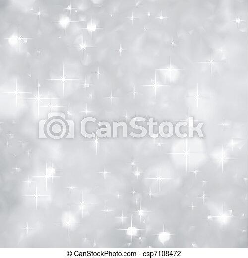 Silver Sparkles background christmas. Vector - csp7108472