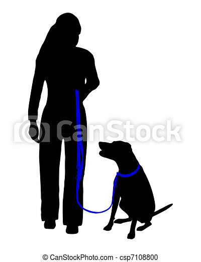 Dog training (obedience): command: sit at heel - csp7108800