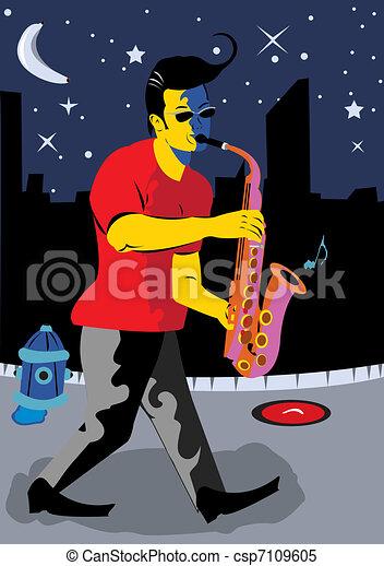 A Man Playing Sax - csp7109605
