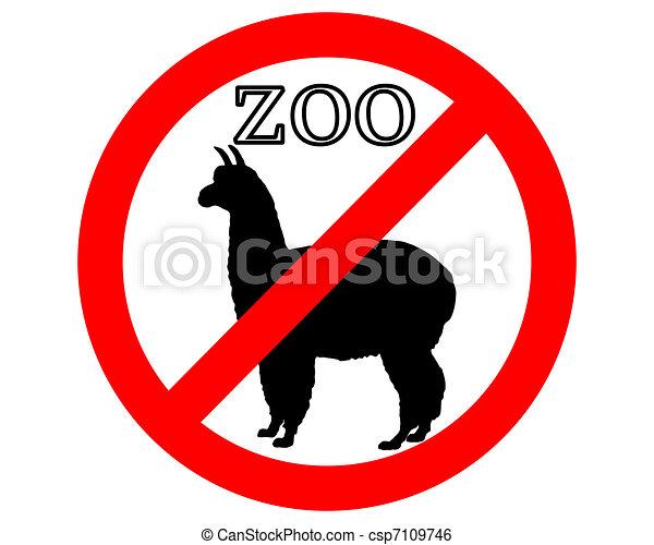 Alpaca in zoo prohibited - csp7109746