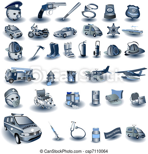 Blue Professional Job Icons - csp7110064