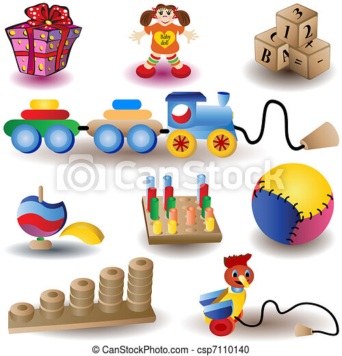 Vector Clipart of christmas icons 2 - toys - Vector illustration ...