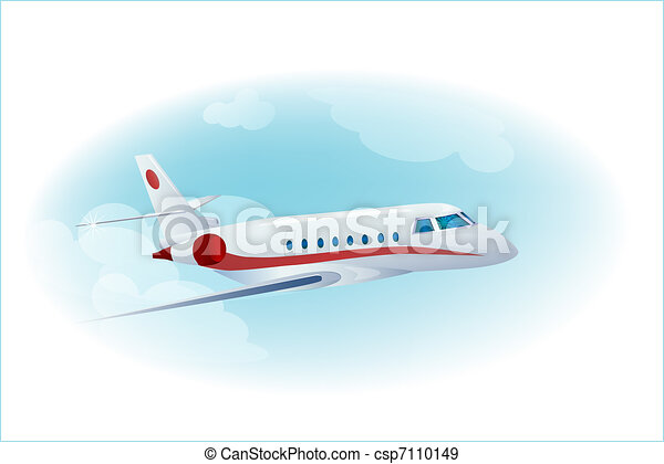 passenger airplane in the cloudy  blue sky - csp7110149