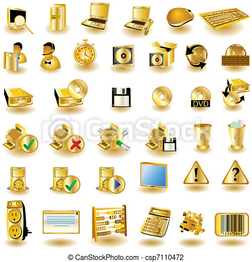 Gold interface icons 2 - csp7110472