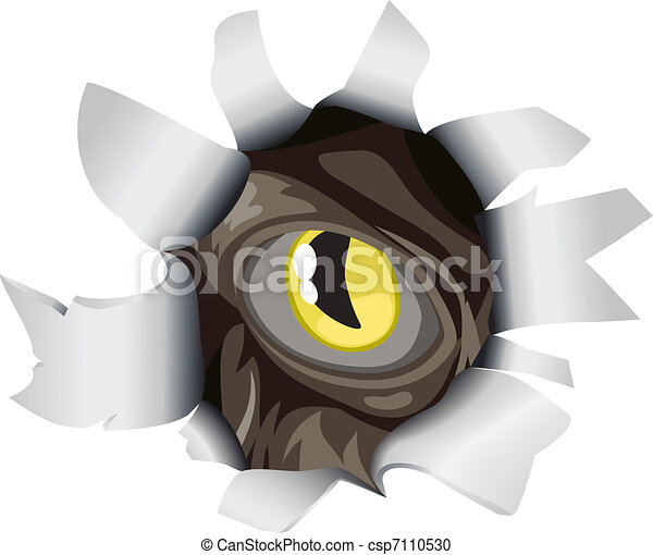 Creature looking through tear - csp7110530