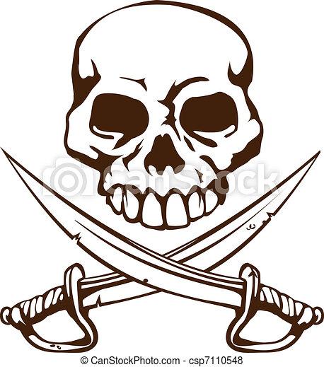 Pirate skull and crossed swords symbol - csp7110548