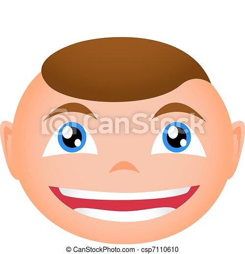Faces Vector Art Vector Smiling Boy Face