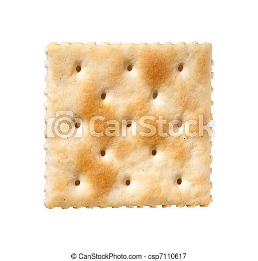 Saltine Cracker isolated on white - csp7110617