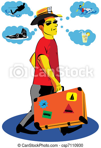 Vector Clipart of Making A Holiday Plans - ector illustration of a ...