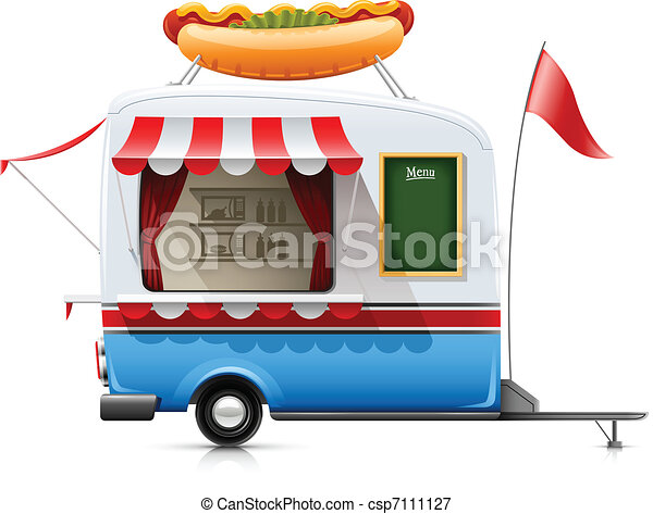 trailer fast food hot dog - csp7111127