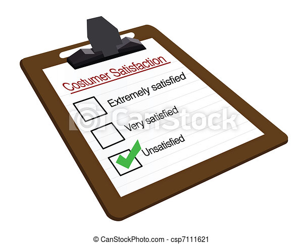 Poor customer survey on a clipboard - csp7111621