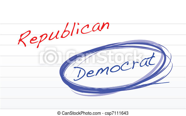 choosing democrat over republican - csp7111643