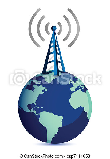 radio tower standing on top of eart - csp7111653
