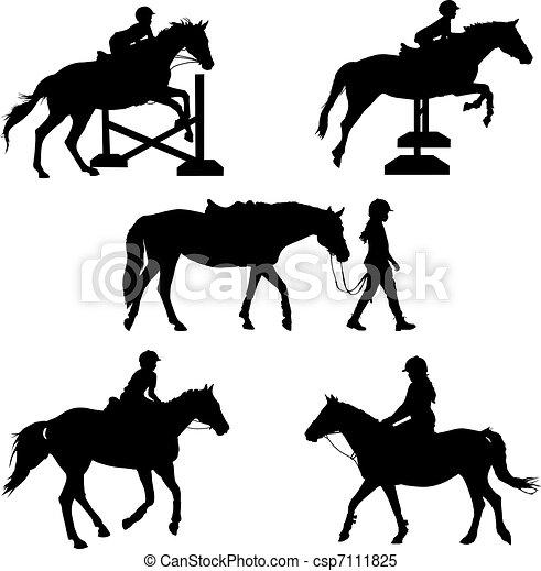clipart vektor von pferd silhouetten a gruppe von