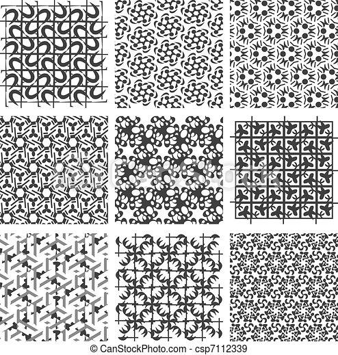 vecteurs eps de ensemble noir blanc g om trique motifs ensemble csp7112339. Black Bedroom Furniture Sets. Home Design Ideas