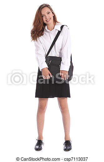 Secondary education pretty girl in school uniform - csp7113037