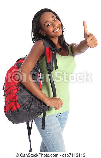 African American teenage school girl happy success - csp7113113