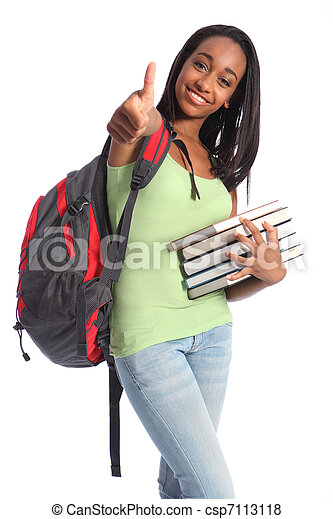Education success African American teenager girl - csp7113118