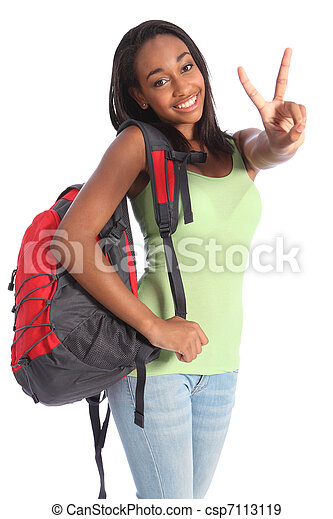 Beautiful black teenager school girl victory sign - csp7113119