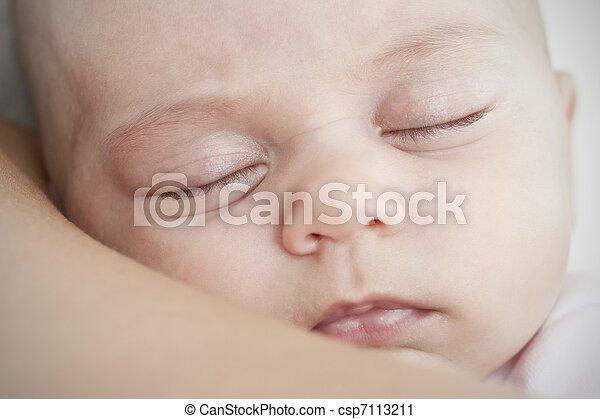 newborn sleeping on the mother shoulder - csp7113211