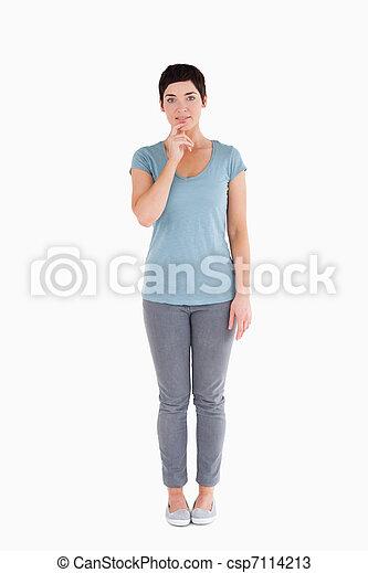 Doubtful woman posing - csp7114213