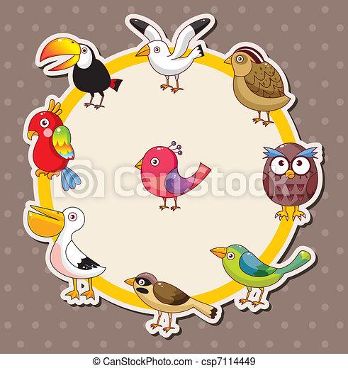 Cartoon bird card  - csp7114449