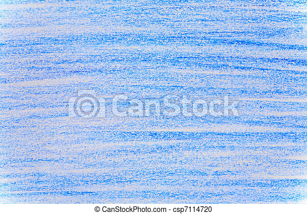 Horizontal blue background made with a wax crayon