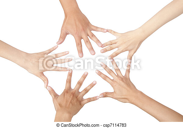 five different hands connected together and isolated on white - csp7114783