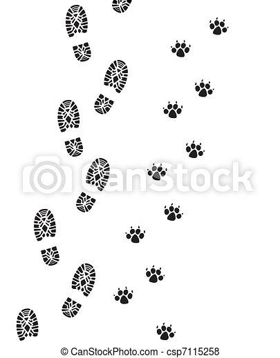 foot prints of man and dog - csp7115258