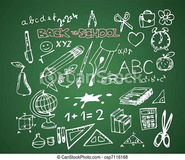 Back to school - set of school doodle vector illustrations - csp7116168