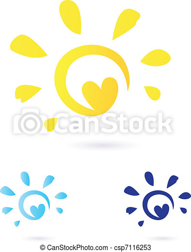 Abstract vector Sun icon with Heart -  yellow & blue - csp7116253