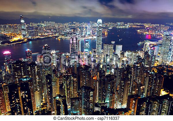 Hong Kong night view from the peak - csp7116337