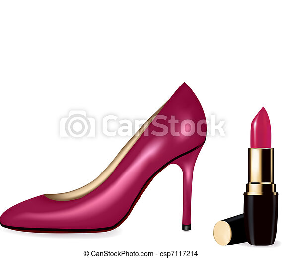 Sexy high heel shoes shoes and lips - csp7117214