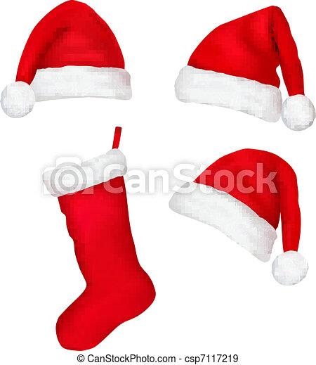 Set of red santa hats and boot - csp7117219