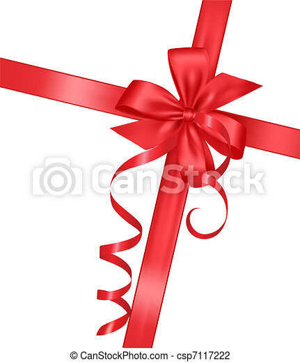 Holiday red bow with a ribbon - csp7117222