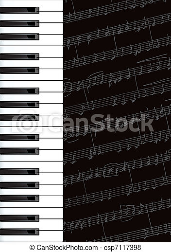 Piano keys and notes.  - csp7117398