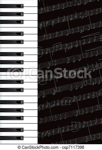 Piano keys and notes.  - csp7117398