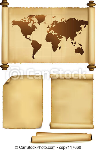 Set of old paper sheets and old map - csp7117660