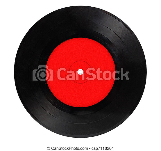 Vintage vinyl record isolated on white background - csp7118264
