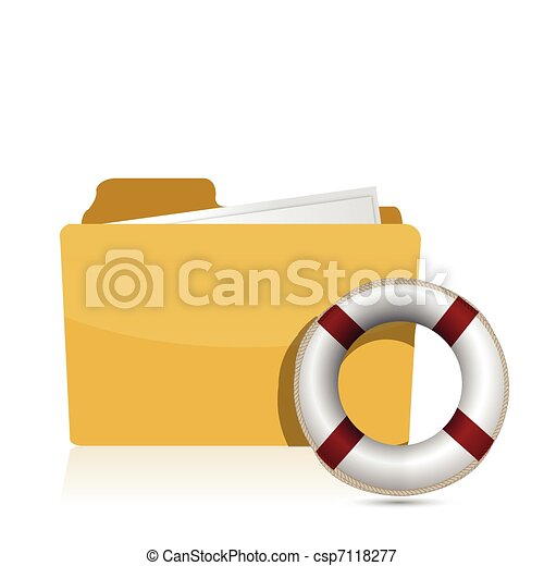 Folder icon with lifesaver - csp7118277